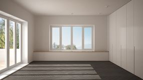 Modern empty space with big panoramic windows and wooden floor, minimalist white and gray architecture. Interior design stock photos
