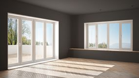 Modern empty space with big panoramic windows and wooden floor, minimalist white and gray architecture interior. Design royalty free stock photo