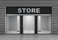 Modern Empty Store Front. With Big Window Royalty Free Stock Images