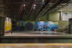 Modern empty underground statıon. Shot in low light royalty free stock image