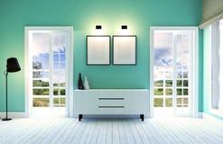 Modern en eigentijds woonkamerbinnenland met groene muur en houten vloer Stock Foto