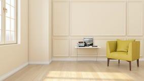 Modern en klassiek woonkamer binnenlands ontwerp, huisconcept, gele leunstoel met woodfloor en roommuur, het 3d teruggeven stock illustratie