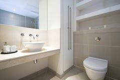 Modern en-suite bathroom. In beige Royalty Free Stock Images