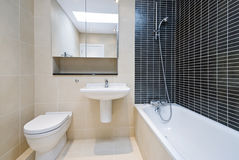 Modern en-suite bathroom in beige with black tiles. Modern en-suite bathroom in beige with black tiled walls and ceramic wash basin and toilet Stock Photography