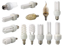 Modern energy saving light bulbs Stock Images
