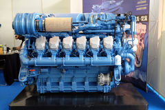 Modern engine used on marine industry. Exhibited at the Zagreb Boat Show Royalty Free Stock Photo