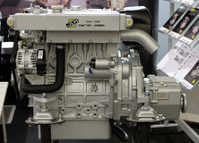 Modern engine used on marine industry exhibited at the Zagreb Boat Show Stock Photos