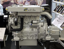 Modern engine used on marine industry. Exhibited at the Zagreb Boat Show, on February 20, 2015 Stock Images