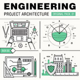 Modern engineering construction big pack. Thin line icons archit Royalty Free Stock Photography