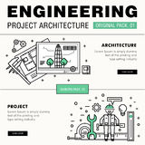Modern engineering construction big pack. Thin line icons archit Stock Images
