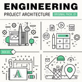 Modern engineering construction big pack. Thin line icons archit Royalty Free Stock Images