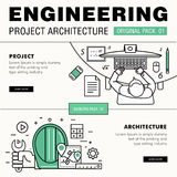 Modern engineering construction big pack. Thin line icons archit Royalty Free Stock Photo