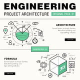Modern engineering construction big pack. Thin line icons archit Royalty Free Stock Photos