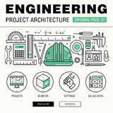 Modern engineering construction big pack. Thin line icons archit Stock Image