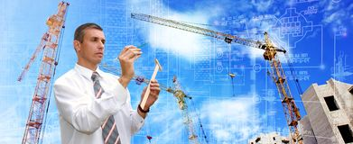 Modern engineering designing technology in construction stock images