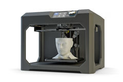 Modern engineering, prototyping, creating objects and printing technology concept. Black plastic 3d printer machine making human head Royalty Free Stock Photography