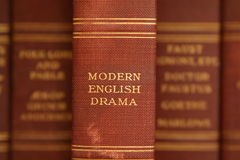 Modern English Drama. Closeup, selective focus image of a old worn book spine Royalty Free Stock Images
