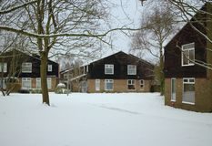 Modern English Houses in Winter Snow stock photo