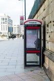 Modern english phone booth. ENGLAND, LIVERPOOL - 15 NOV 2015: Modern english phone booth Royalty Free Stock Photo