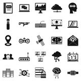 Modern entertainment icons set, simple style. Modern entertainment icons set. Simple set of 25 modern entertainment vector icons for web isolated on white Stock Photography