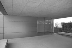 Modern entrance of a building. Black and white. Royalty Free Stock Photos