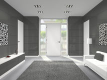 Modern entrance interior with front door Royalty Free Stock Photo