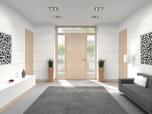 Modern entrance interior with wooden front door Royalty Free Stock Images