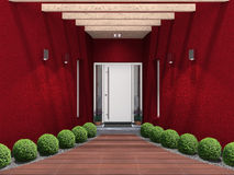 Modern entry with white front door Stock Photo