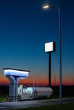 The modern, environmentally friendly and safe fueling at sunset. Royalty Free Stock Image
