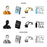 Modern equipment and other web icon in cartoon,black,monochrome style.Machine tools and equipment factory icons in set. Modern equipment and other  icon in Stock Image