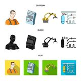 Modern equipment and other web icon in cartoon,black,flat style.Machine tools and equipment factory icons in set. Modern equipment and other  icon in cartoon Royalty Free Stock Photos