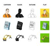 Modern equipment and other web icon in cartoon,black,outline,flat style.Machine tools and equipment factory icons in set. Modern equipment and other  icon in Royalty Free Stock Photo