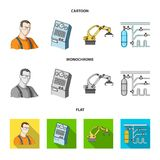 Modern equipment and other web icon in cartoon,flat,monochrome style.Machine tools and equipment factory icons in set. Modern equipment and other  icon in Royalty Free Stock Images