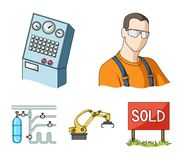 Modern equipment and other web icon in cartoon style.Machine tools and equipment factory icons in set collection. Modern equipment and other  icon in cartoon Stock Photography