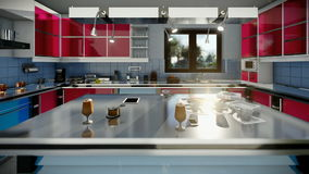 Modern equipped kitchen, zoom in. Hd video stock video