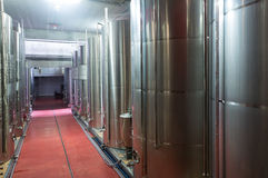 Modern equpped facilities of wine plant. Interior of wine plant shop with modern equipment royalty free stock image