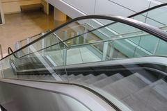 Modern escalator. Side view from top to down. Modern European escalator. Side view from top to down Royalty Free Stock Photography