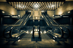 Modern escalators built a subway station Royalty Free Stock Image