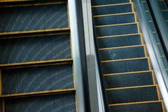 Escalator , staircase Black and White , monochrome, abstract art. Modern escalators, chrome escalators. Black and White , monochrome, abstract artistic view Stock Photo