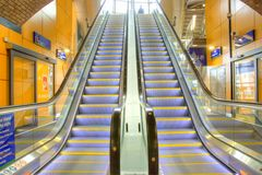 Modern escalators Royalty Free Stock Photography