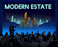 Modern Estate Modernity Skyscraper Building Concept. People Meeting Conference Concept Royalty Free Stock Photography
