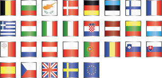 Modern EU sjunker symboler Arkivbild