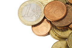 Modern Euro Coins With White Copy Space Royalty Free Stock Photos