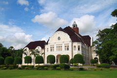 The modern European architecture palace. Perspective view of the modern European architecture palace,Wang Ban Puan palace Thailand. This building is plublic Royalty Free Stock Image