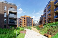 Modern european architecture of residential building quarter. And outdoor facilities Royalty Free Stock Photos