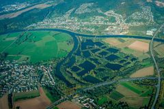 River Diversion - Aerial View. Modern European landscape showing the diversion of a river creating ponds and the pattern of agricultural and settlement areas Royalty Free Stock Image