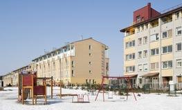 Modern European mass rural building Royalty Free Stock Photo