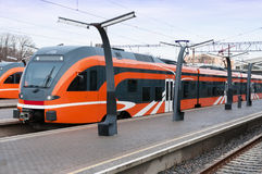 Modern European train in Estonia. Modern European train at station in Estonia royalty free stock photo