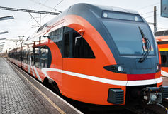 Modern european train in Estonia. Modern European train at station in Estonia stock photos