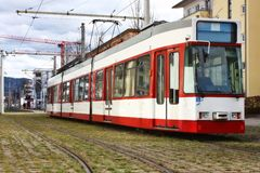 Modern European tramway Royalty Free Stock Images